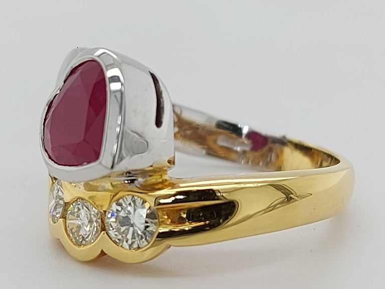 Beautiful 18kt Yellow and White Gold Ring with 4 Diamonds and Heart Shaped Ruby For Sale 9
