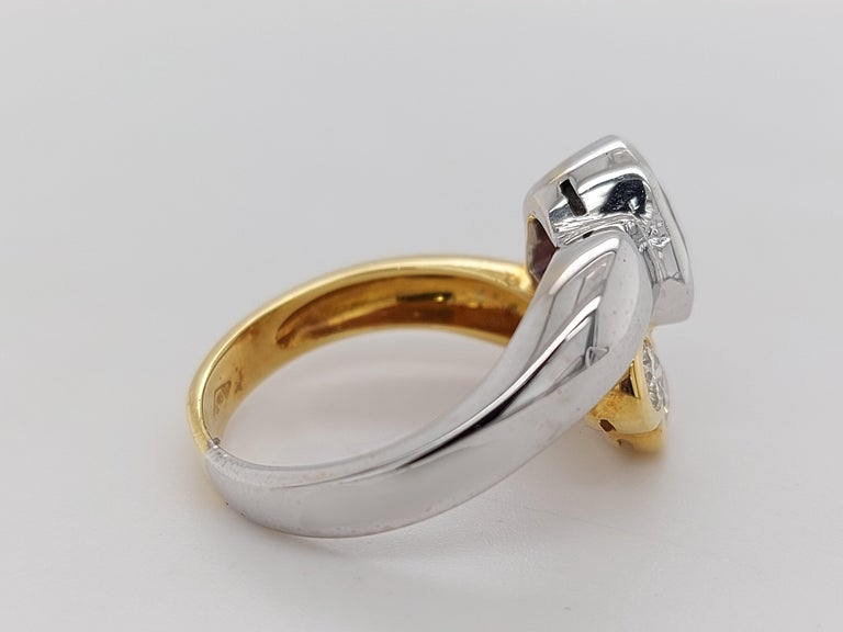 Beautiful 18kt Yellow and White Gold Ring with 4 Diamonds and Heart Shaped Ruby For Sale 12