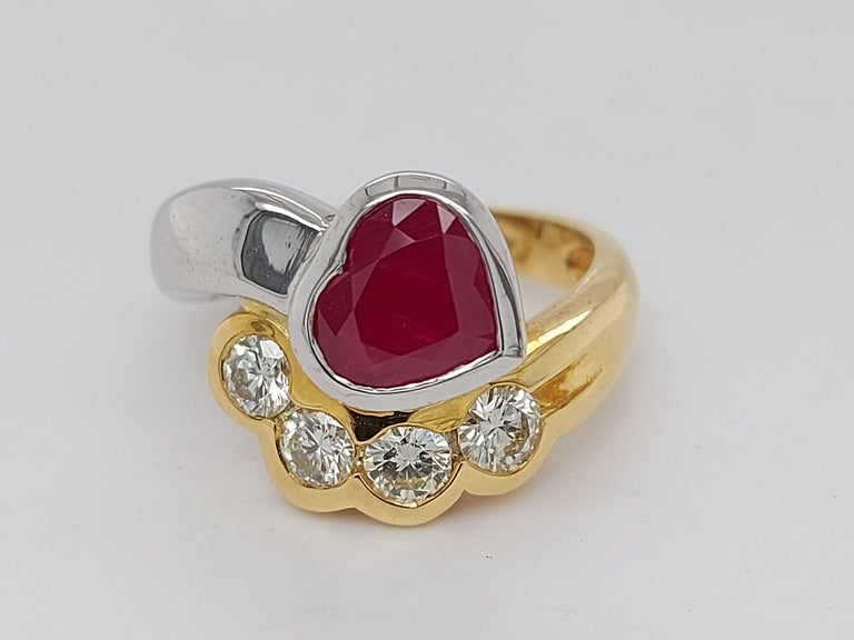 Artisan Beautiful 18kt Yellow and White Gold Ring with 4 Diamonds and Heart Shaped Ruby For Sale