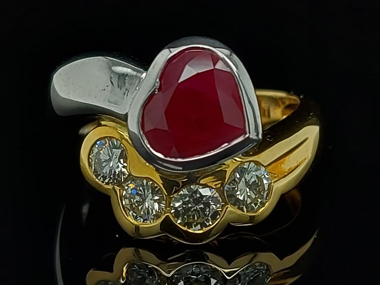 Heart Cut Beautiful 18kt Yellow and White Gold Ring with 4 Diamonds and Heart Shaped Ruby For Sale