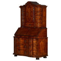 Beautiful 18th Century Baroque Walnut Veneer Bureau with Inlays