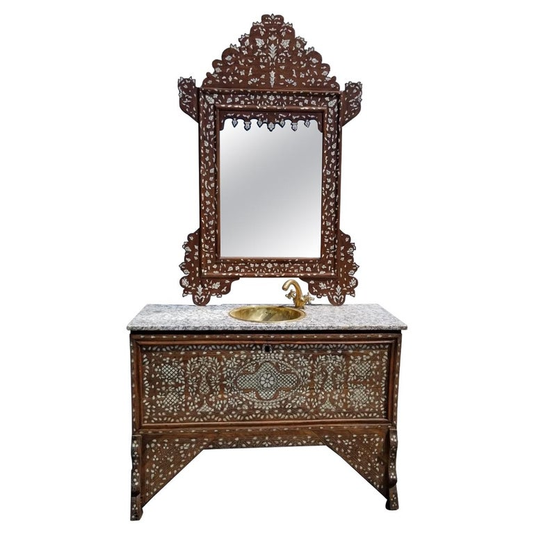 Beautiful 1900s Middle Eastern Mother of Pearl Vanity and Mirror For Sale