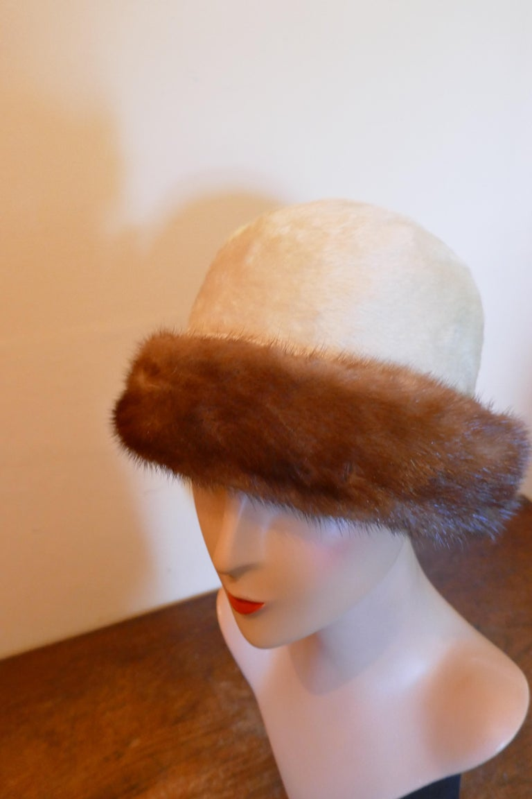 Beautiful 1920s Style Felt Fur Cloche Hat, trimmed with Mink by Panda  Superb Soft Fur Fabric Cloche hat classic 1920s Head Hugging Style, the forehead brim is trimmed with Mink  The hat is very fine quality and in good condition, the inside