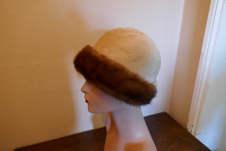 Brown Beautiful 1920s Felt Fur Cloche Hat, trimmed with Mink by Panda