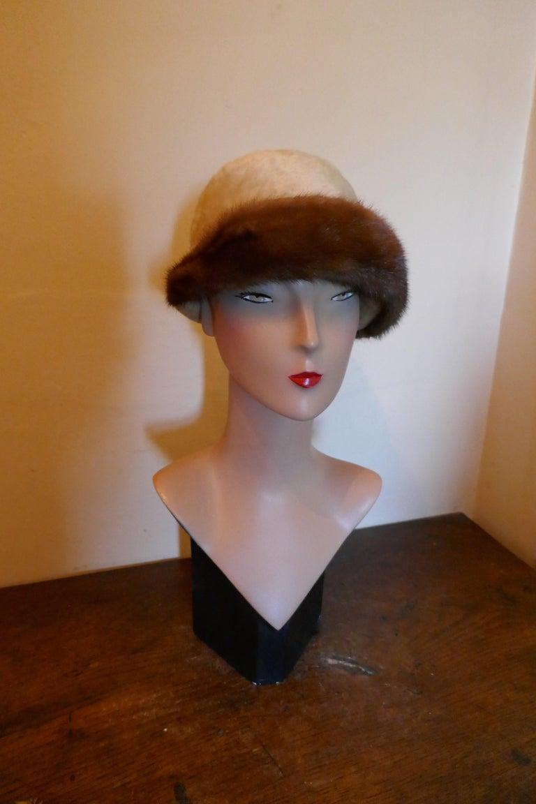Beautiful 1920s Felt Fur Cloche Hat, trimmed with Mink by Panda 2
