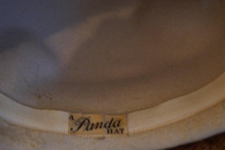 Beautiful 1920s Felt Fur Cloche Hat, trimmed with Mink by Panda 3