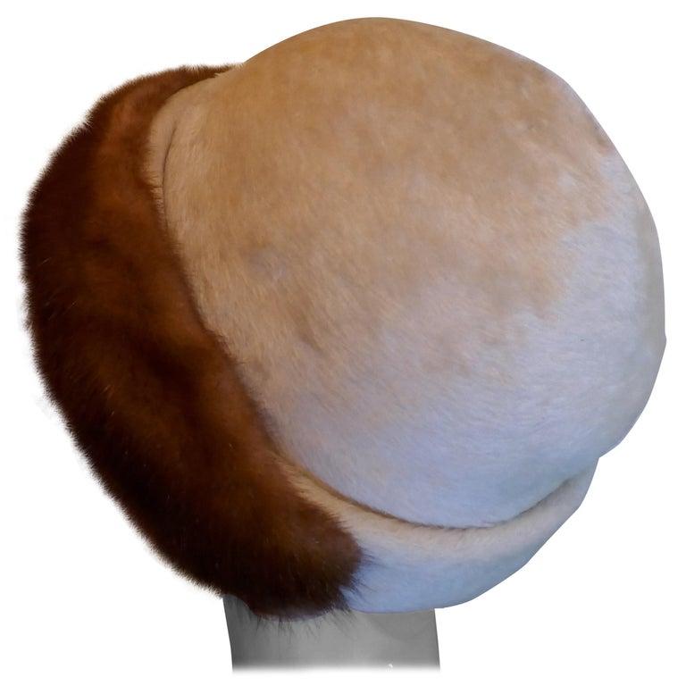 Beautiful 1920s Felt Fur Cloche Hat, trimmed with Mink by Panda