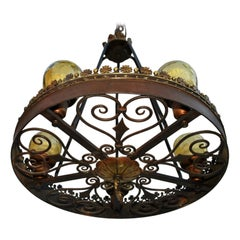 Beautiful 1920s Wrought Iron Chandelier