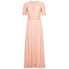 Beautiful 1930s Pale Pink Embroidered Lace Tea Gown Dress