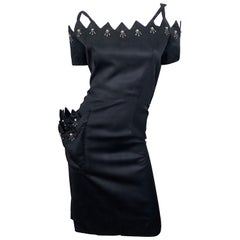 Beautiful 1950s Demi Couture Black Silk Size 10 / 12 Rhinestone Cut Out Dress