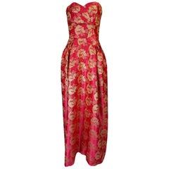 Beautiful 1950s Helena Barbieri Strapless Pink & Gold Silk Brocade Dress