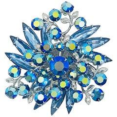 Beautiful 1950s Large Blue Rhinestone Crystal Silver Tone Vintage 50s Brooch Pin