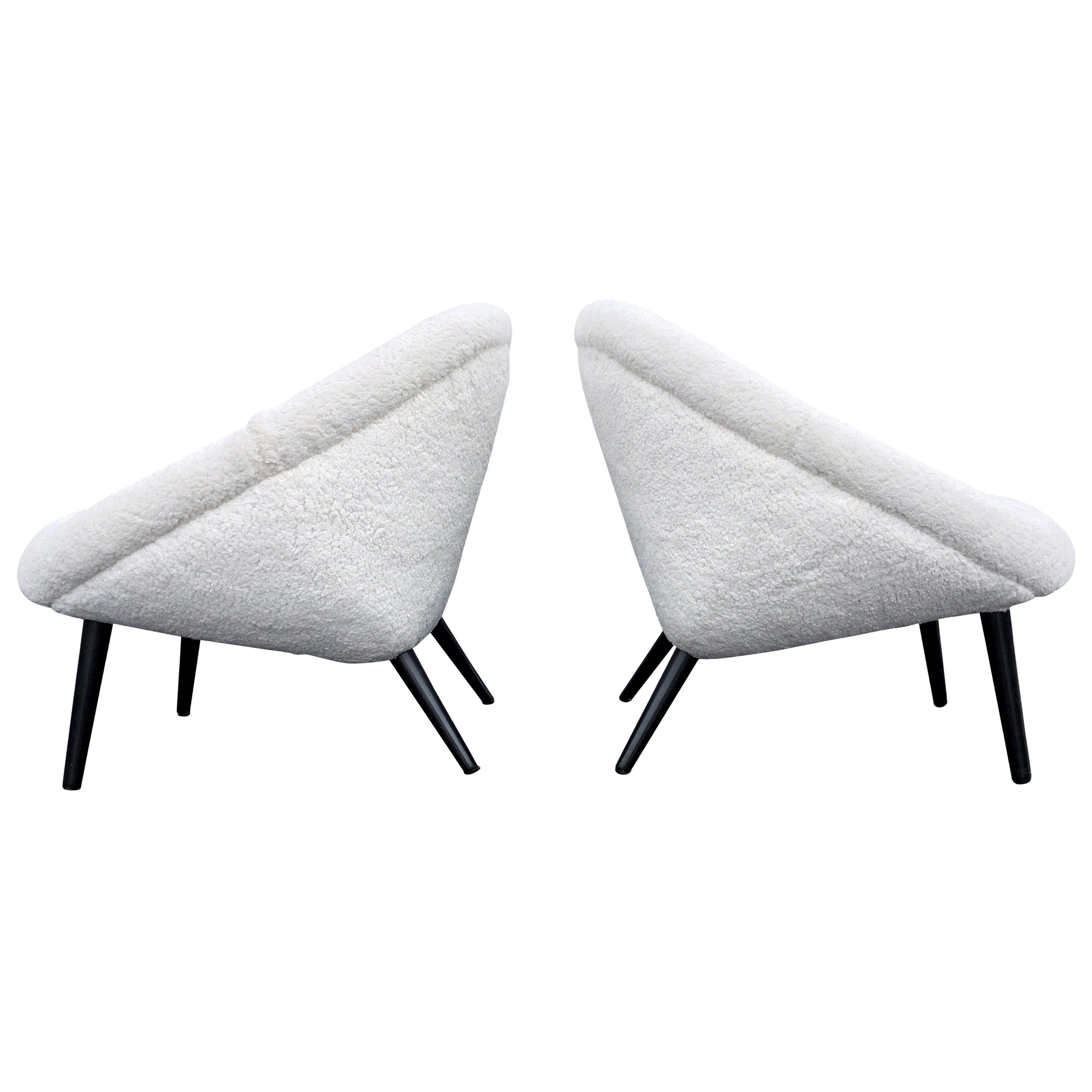 Beautiful 1950s Lounge Chairs, Faux Sheepskin, Midcentury