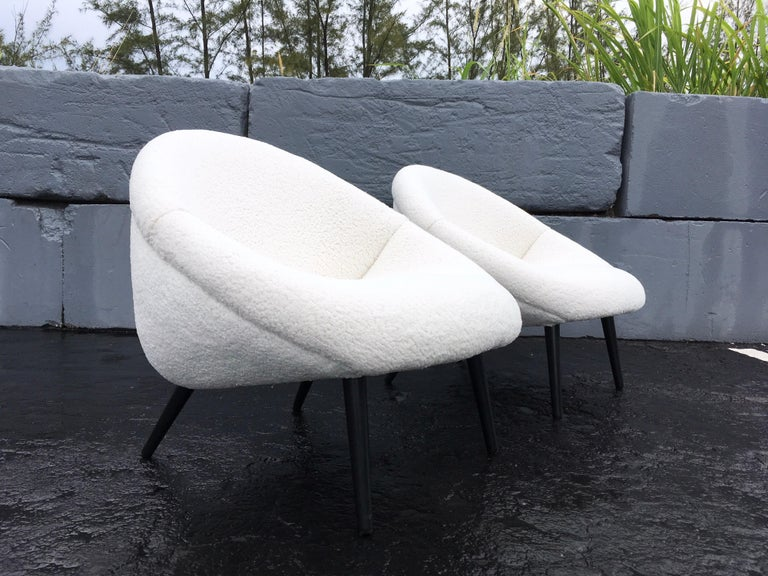 Beautiful 1950s Lounge Chairs, Faux Sheepskin, Midcentury For Sale 3