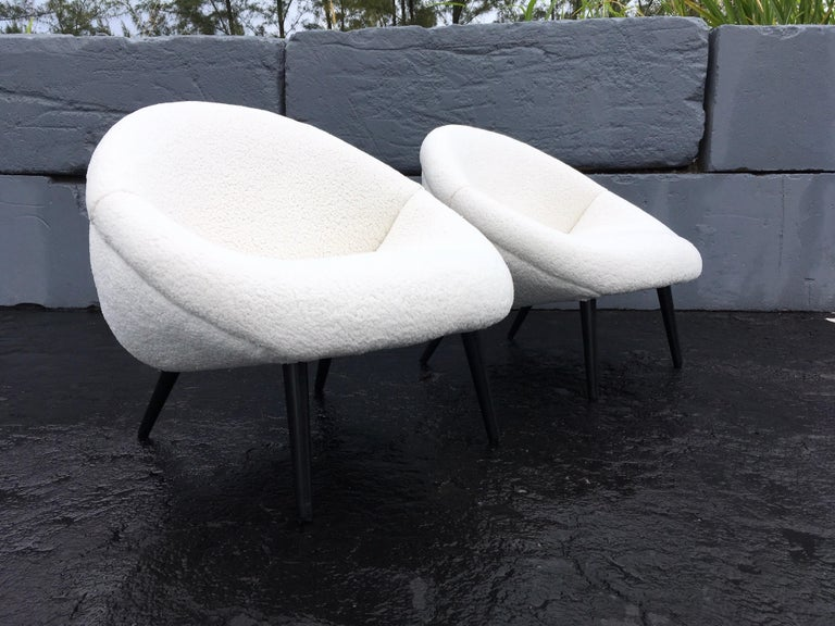 Beautiful 1950s Lounge Chairs, Faux Sheepskin, Midcentury For Sale 4