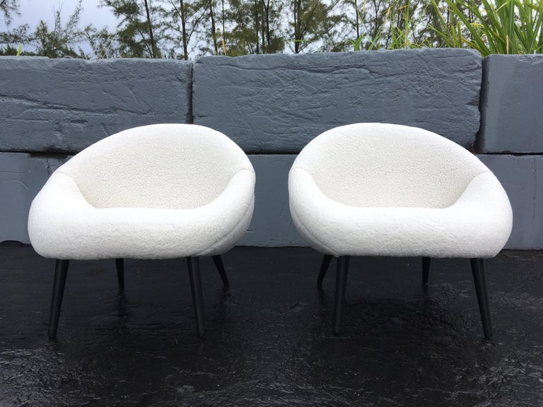 Beautiful 1950s Lounge Chairs, Faux Sheepskin, Midcentury For Sale 6