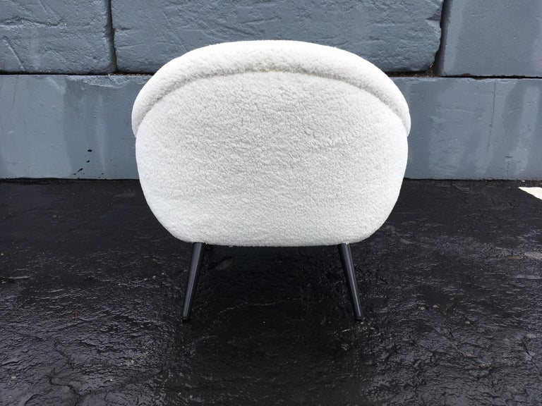 Beautiful 1950s Lounge Chairs, Faux Sheepskin, Midcentury For Sale 7