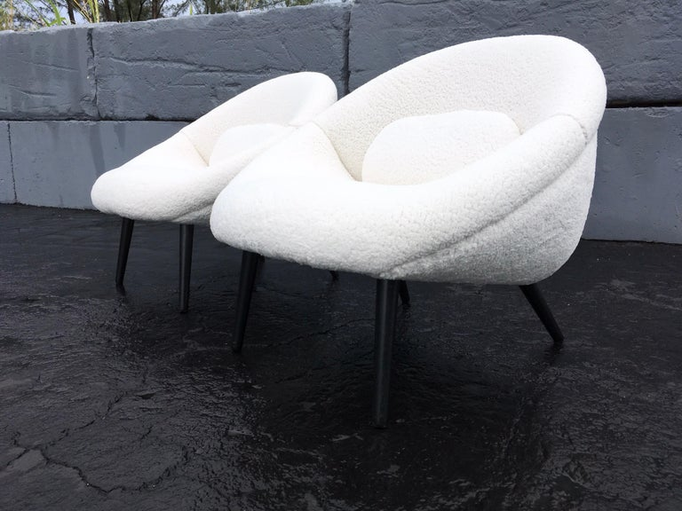 Beautiful 1950s Lounge Chairs, Faux Sheepskin, Midcentury In Good Condition For Sale In Opa Locka, FL