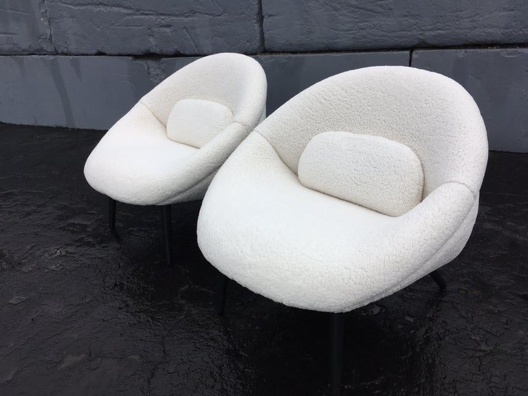 Mid-20th Century Beautiful 1950s Lounge Chairs, Faux Sheepskin, Midcentury For Sale