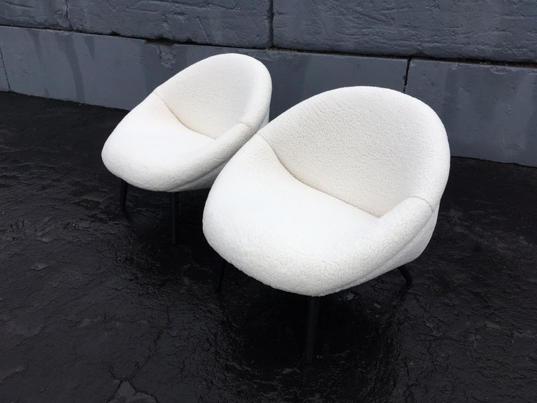 Faux Fur Beautiful 1950s Lounge Chairs, Faux Sheepskin, Midcentury For Sale
