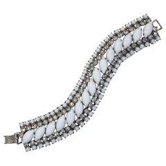 Beautiful 1950s Rhinestone White and Silver Vintage 50s Cuff Bracelet