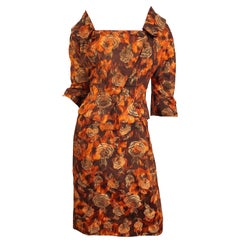 Beautiful 1950s Rose Print Silk Brocade Brown Orange Gold 50s Dress and Jacket