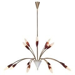 Beautiful 1950s Spider Sputnik Chandelier in the style of Stilnovo