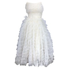 Beautiful 1950s White Tulle Demi Couture Strapless Vintage 50s Tiered Gown