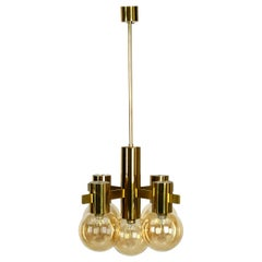 Beautiful 1960s Brass Ceiling Lamp by Hans Agne Jakobsson with 5 Glass Balls