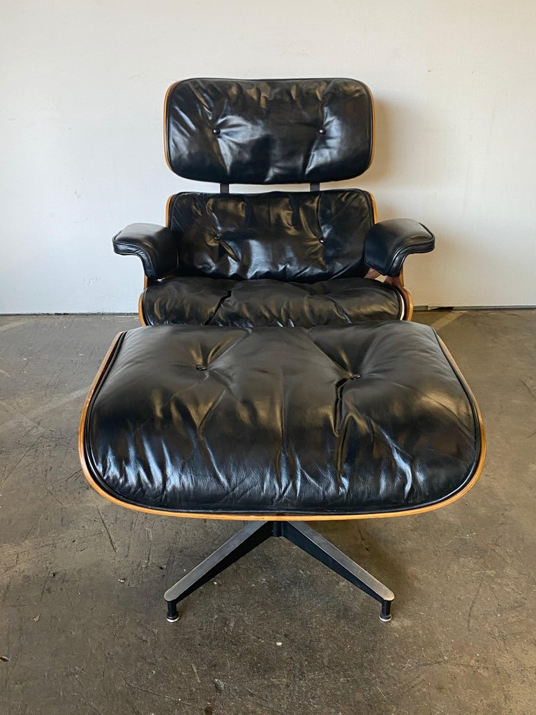 Leather Beautiful 1960s Herman Miller Eames Lounge Chair and Ottoman
