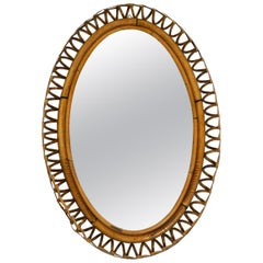 Beautiful 1960s Italian Oval Bamboo Wall Mirror in Loop Design