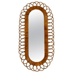 Beautiful 1960s Italian Oval Wall Mirror Made of Bamboo in a Loop Design