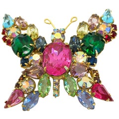Beautiful 1960s Large Brooch Butterfly Colorful Rhinestone Vintage 60s Pin