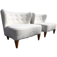 Beautiful 1960s Lounge Chairs, Faux Sheepskin, Mid-Century Modern
