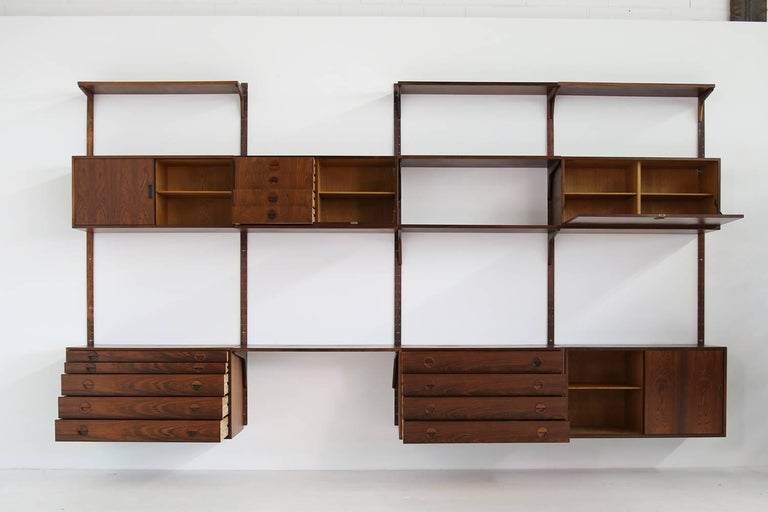 Mid-Century Modern Beautiful 1960s Wall Unit Rud Thygesen & Johnny Sorensen Shelving HG Furniture For Sale