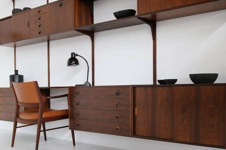 Mid-20th Century Beautiful 1960s Wall Unit Rud Thygesen & Johnny Sorensen Shelving HG Furniture For Sale