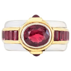 Beautiful 1970s Center Ruby with Rubies on the Side Ring