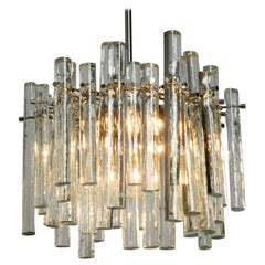 Beautiful 1970s Chrome Chandelier with Thick Crystal Glass Rods from Kinkeldey