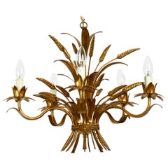 Beautiful 1970s Gold-Plated 5-Armed Metal Chandelier by Hans Kögl