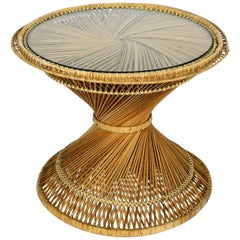 Beautiful 1970s Wicker Side Table Made of Wicker with Thick Original Glass Top