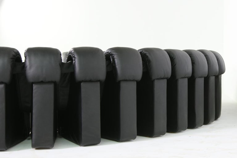 Beautiful 1980s Black De Sede DS 600 Lounge Leather Sofa in Full Leather Edition For Sale 1