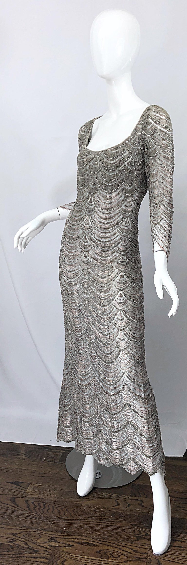 Beautiful 1990s Badgley Mischka Size 12 Fully Beaded Grey Vintage 90s Deco Gown For Sale 5
