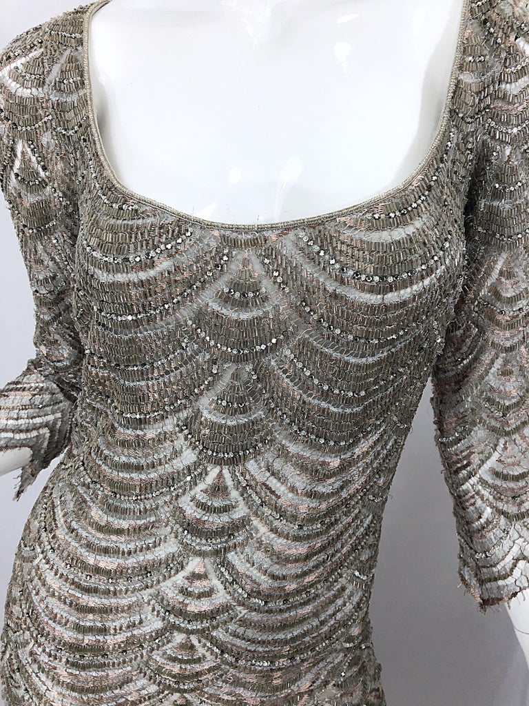 Beautiful 1990s Badgley Mischka Size 12 Fully Beaded Grey Vintage 90s Deco Gown For Sale 6