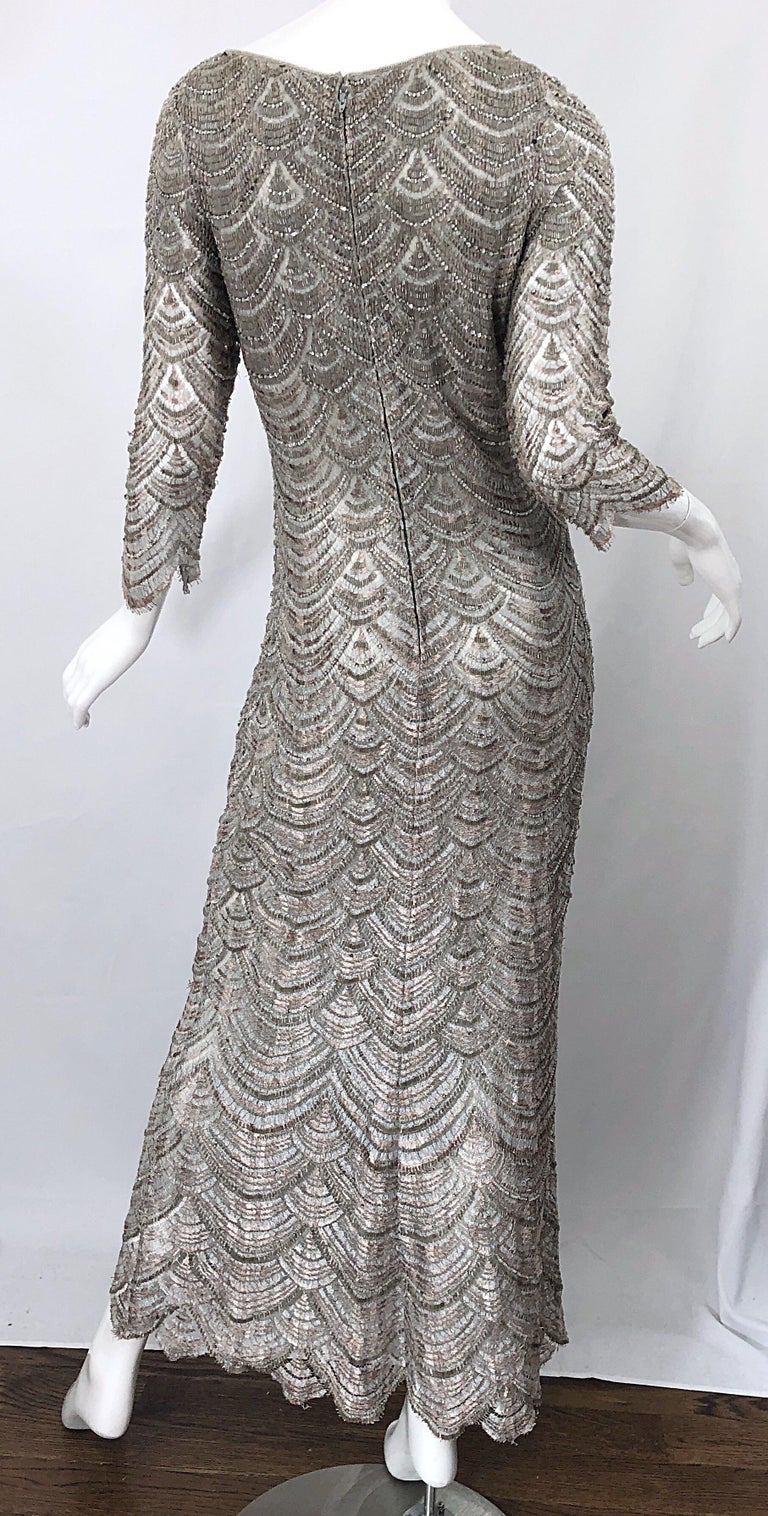 Beautiful 1990s Badgley Mischka Size 12 Fully Beaded Grey Vintage 90s Deco Gown For Sale 7