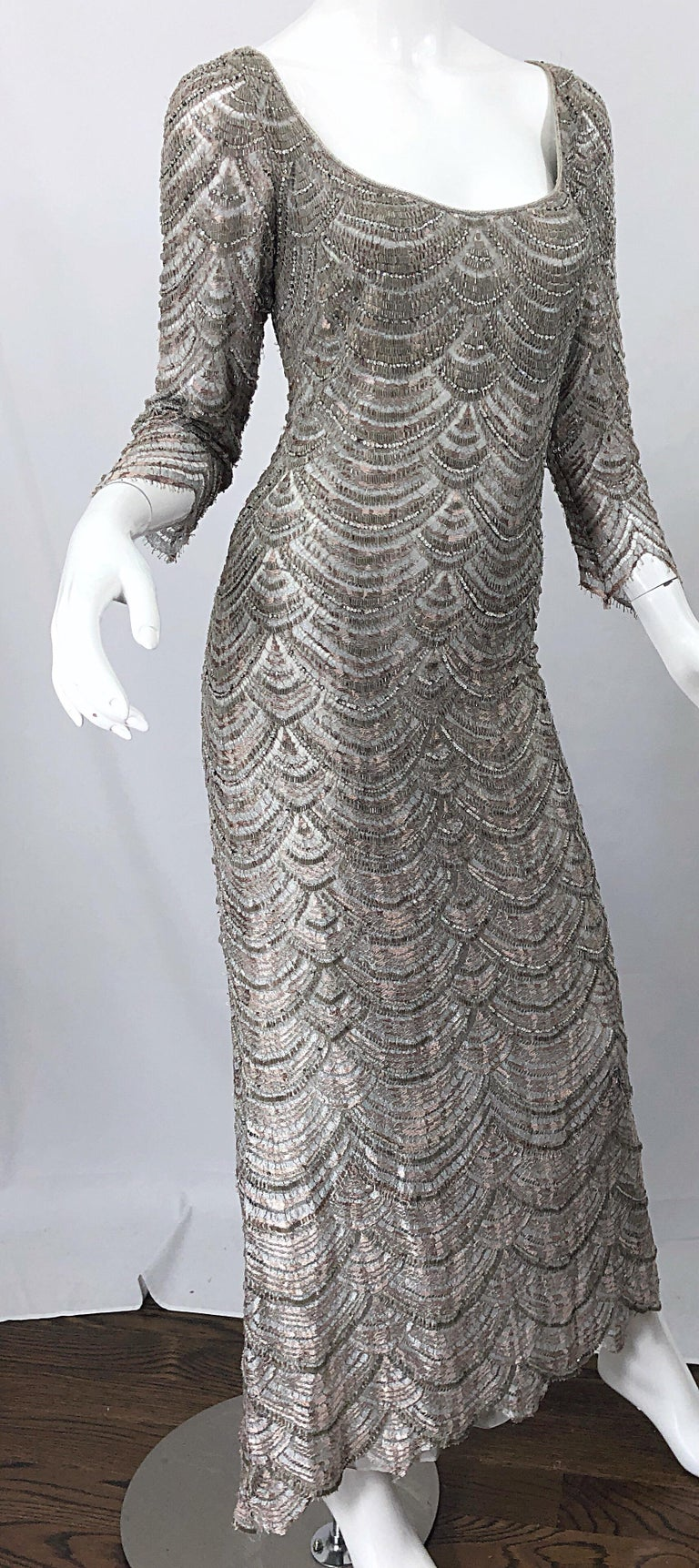 Beautiful 1990s Badgley Mischka Size 12 Fully Beaded Grey Vintage 90s Deco Gown For Sale 8