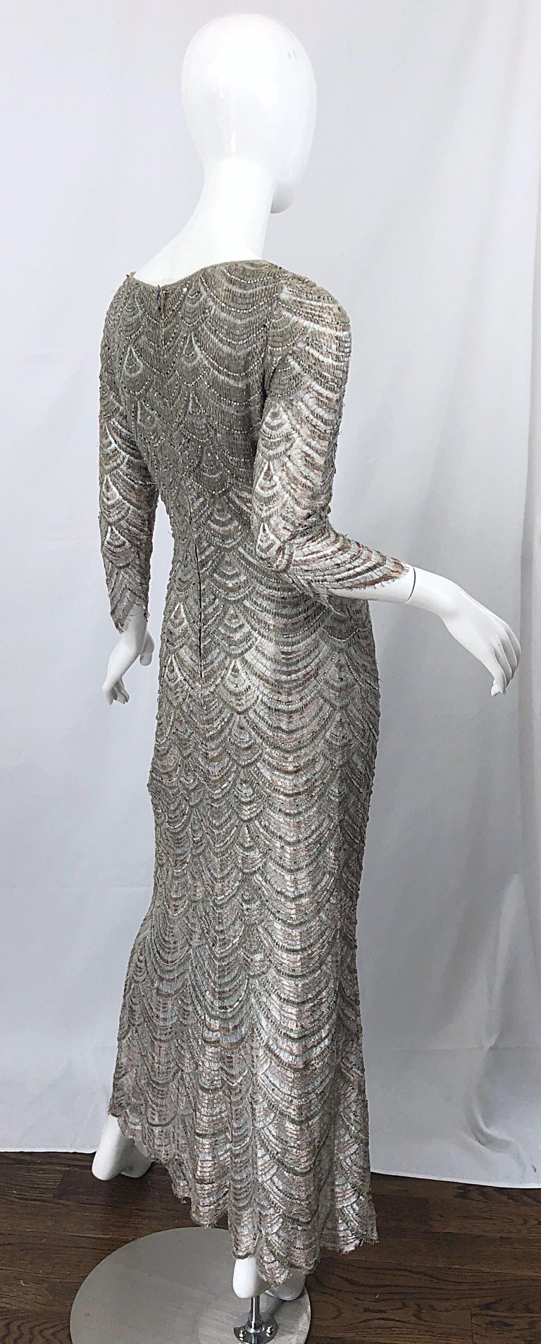 Beautiful 1990s Badgley Mischka Size 12 Fully Beaded Grey Vintage 90s Deco Gown For Sale 9