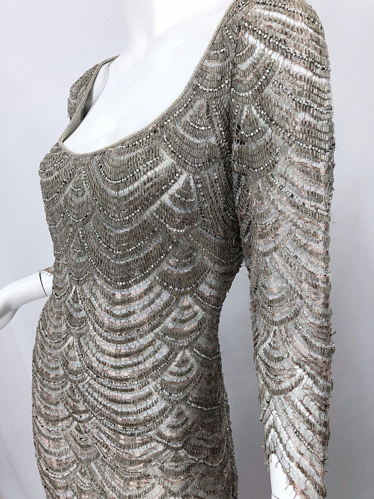 Beautiful 1990s Badgley Mischka Size 12 Fully Beaded Grey Vintage 90s Deco Gown For Sale 10