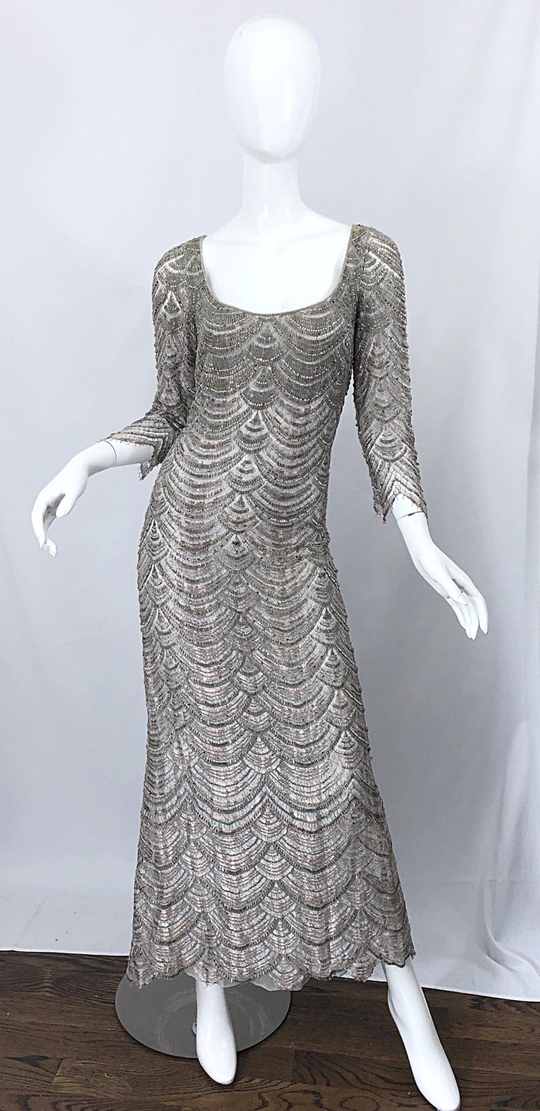 Beautiful 1990s Badgley Mischka Size 12 Fully Beaded Grey Vintage 90s Deco Gown For Sale 11