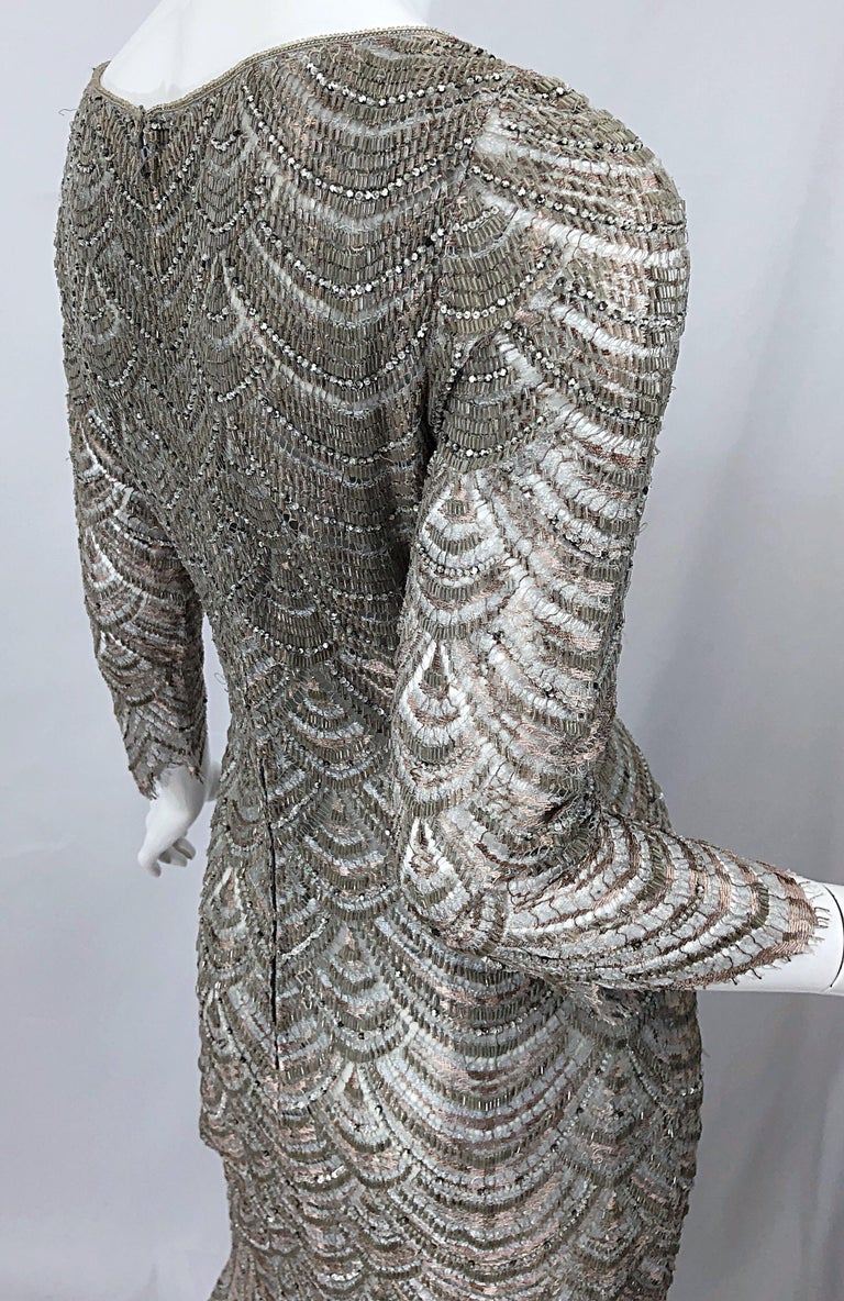 Women's Beautiful 1990s Badgley Mischka Size 12 Fully Beaded Grey Vintage 90s Deco Gown For Sale