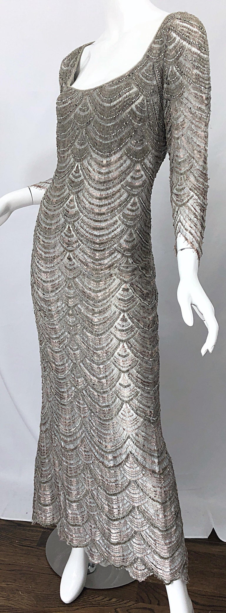 Beautiful 1990s Badgley Mischka Size 12 Fully Beaded Grey Vintage 90s Deco Gown For Sale 1